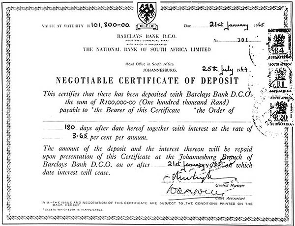Barclays Negotiable Certificate of Deposit