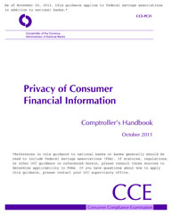 Comptroller's Handbook: Privacy of Consumer Financial Information Cover Image