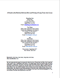 Economic Working Paper Cover Image: A Puzzle in the Relation Between Risk and Pricing of Long-Term Auto Loans