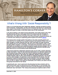 Hamilton's Corner Cover Image: What's Wrong With 'Social Responsibility'?